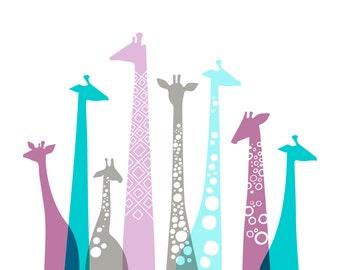 "20X16"" giraffe silhouettes landscape format giclee print on fine art paper. teal blue, lilac purple, gray."