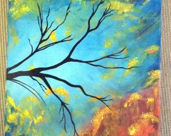 Blue Sky and Black Branches Acrylic Painting
