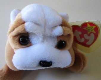 WRINKLES the DOG Ty Beanie Baby Retired 1996 Original White Brown Plush Toy Animal Collectible Factory
