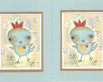 Notecards -Set of 2 -  Blank - Little Birds