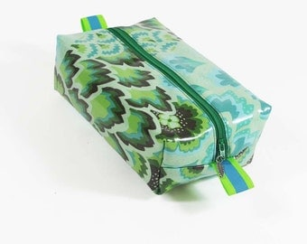 Soul Blossom Peacock Feathers in Turquoise Laminated Cosmetic Zip Pouch