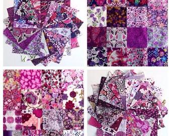 "40 Liberty Lawn  2.5 inch mini charm squares - PURPLES - 40 Liberty tana lawn 2.5""  patchwork squares"