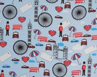 London Fabric, Blue London Life Fabric, Pale Blue London Landmarks Patterned Cotton Fabric