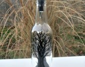 Dish Soap Dispenser,  Recycled Clear Beer Bottle, Painted Glass, Oil and Vinegar Bottle, Black Tree