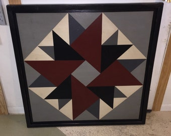 PriMiTiVe Hand-Painted Barn Quilt, Thick Frame 2' x 2' - Double Aster (Gray Version)
