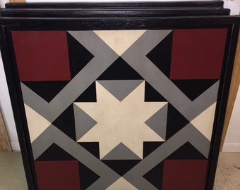 PRiMiTiVe Hand-Painted Barn Quilt - 3' x 3' Magic Carpet Pattern (Gray Version)