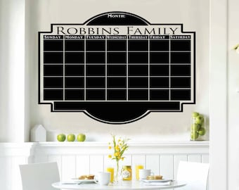 Custom Chalkboard Vinyl Wall Calendar