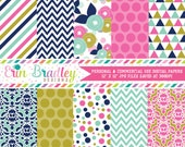 Pink Blue & Gold Digital Paper Pack Polka Dots Stripes Triangles Flowers and Damask Patterns Digital Scrapbook Paper