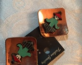 ON SALE NOW Whimsical genuine copper earrings with hand painted Asian people on them 3-D mid century