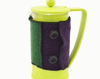 Bodum Cover in Upcycled Wool - French Press Coffee Cozy - Aubergine Green Fuchsia