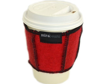 Coffee Cup Cozy in Upcycled Wool - Java Jacket - Fire Crimson Red