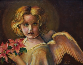 Angel Art - Print of Little Angel with Flowers - 5x7 in 8x10 mat