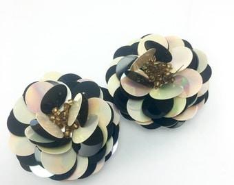 Bold Flower Sequin Black White Clip Earrings, Extra Large Earrings, 1980's Jewelry, Fashion Costume Earrings