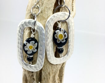 Black White Flower Millefiore Earrings, Hand Hammered Silver Dangle Earrings, Fashion Jewelry, Handmade Earrings