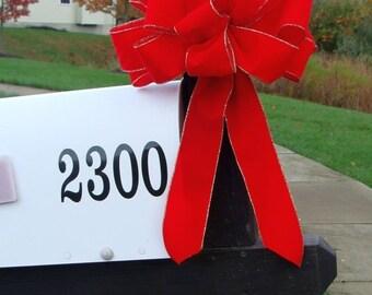 FALL WREATH SALE Christmas Bow, Mailbox Decor, Christmas Decoration, Weatherproof Christmas Bows, Outdoor Ribbon