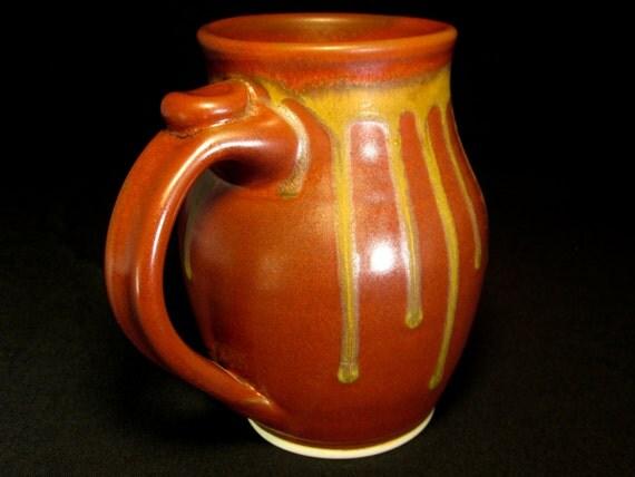 ceramic mug- large coffee mug- pottery mug- 5.25 inches tall- ceramic coffee mug- coffee cup- red pottery mug- red mug- brown mug- InStock