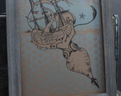 "Letterpress Poster - Tattoo Inspired Kraken and Pirate Ship - 11"" x 14"""