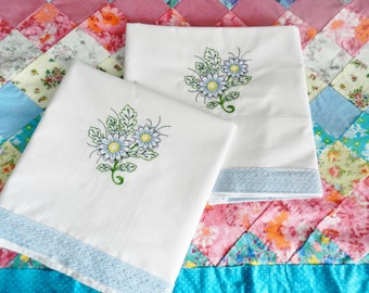 Machine Embroidered Pillowcases, Vintage Pillowcases, Blue Pillowcases, Nos Pillowcases, Never Used Pillowcases, White Pillowcases, Handmade