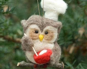 Needle Felted Owl Ornament - Baker