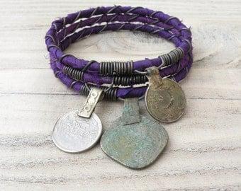 Silk Road 3 Piece Bangle Stack, Silk Wrapped, Stacking Bracelets, Tribal Gypsy Jewelry, Deep Purple