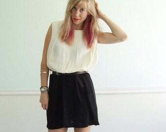 30% off ... Colorblock Mini Secretary Dress - Vintage 80s - M L - Sleeveless - Black and White