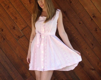 Pink Tribal Sleeveless Mini Button Down Dress- Vintage 80s 90s - S M