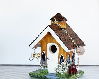 Yellow and Cream Church Birdhouse , Unique , Handcrafted , Hand Painted