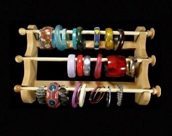 ON SALE Wall Mounted 3 Wand Hanging Bracelet Holder Storage Display Oak