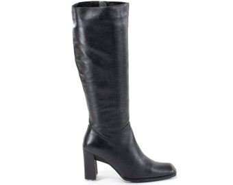 Vintage Boots Black Square Toe Leather Mid Calf Boots Stacked Heel Boots Size 6.5