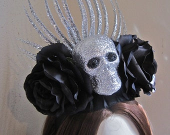 Skull Headpiece Headband BLACK ROSES Silver Glittered Spikes FRIDA Day of the Dead Halloween Mardi Gras Oversized Statement One of a Kind