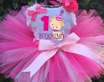 Personalized Pink Puppy with Party Hat Birthday Three Piece Tutu Set - Puppy Birthday Tutu Outfit