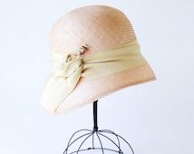 Straw Cloche Hat- Women's Straw Hat- Spring Fashion- Spring Accessories- 1920s Flapper Hat- Great Gatsby Hat- 1920s Style- Pink Straw Hat