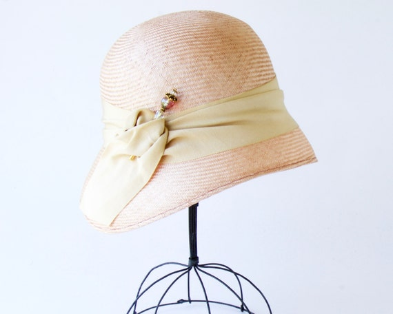 Straw Cloche Hat Women's Straw Hat Spring Fashion Spring Accessory 1920s Flapper Hat Great Gatsby Hat 1920s Style Pink Straw Hat Church Hat