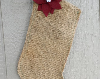 Upcycled Coffee Bag Burlap Christmas Stocking with Red Felt Poinsettia