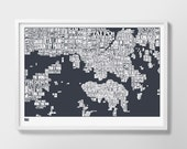 Hong Kong Type Map Screen Print, Hong Kong Print, Hong Kong Text Map, Hong Kong Font Map, Hong Kong Artwork, Hong Kong Word Map, Hong Kong
