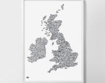 UK and Ireland Hand Drawn Illustrated Map, Illustrated UK Map, Illustrated UK Art Print, United Kingdom Wall Poster, British Isles Art Print