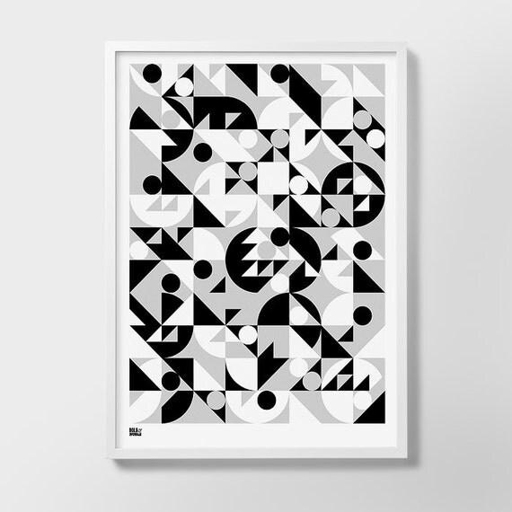 Stronger Screen Print, Geometric Art Print, Geometric Wall Art, Geometric Wall Poster, Yellow Geometric Pattern, Yellow Geometric Print, Art