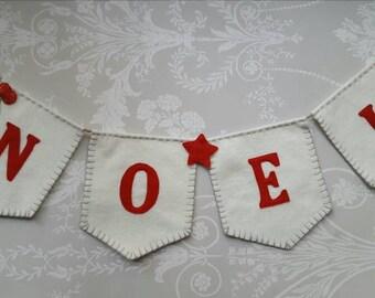 NOEL Christmas Soft Wool blend felt Bunting Banner Decoration Red Cream Scandi Made to Order