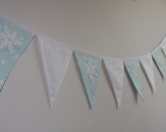 CHRISTMAS FROZEN SNOWFLAKE Bunting Banner Decoration white and turquoise fabric Made to Order