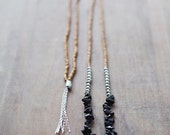 ON SALE Mixed Media Boho Necklace /  Black Grey SIlver Brown Necklace /  Gemstone Necklace /  Onyx Necklace