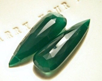 XL Green Onyx Elongated Briolette Pair