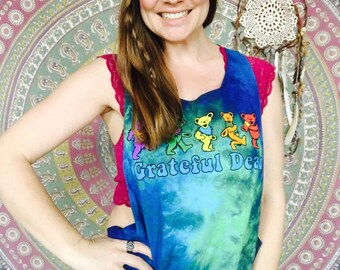 Dancing Bears Tie Dye Grateful Dead Layering Tank Top Racer Back Festival Clothing Womens Upcycled Recycled Eco Friendly Hippie Boho