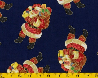 Vintage Christmas fabric Dark Blue background, Standing Santa Clauses, 3 yards by 44 wide Selling bu the yard, by Laurie Cook, VIP, Cranston
