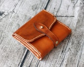 Leather Wallet,Men Womens Leather Wallet,Leather trifold Wallet,Zippered leather wallet,Coin purse,Hand-dyed,Hand stitched by Napkitten