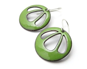 Green Dangle Earrings - Big Green Earrings - Modern Enamel Earrings - Gift for her / Bell Flower