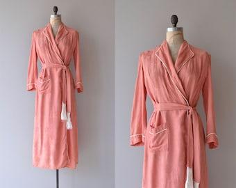 Myrna damask dressing robe | vintage 1940s robe | 40s dressing robe