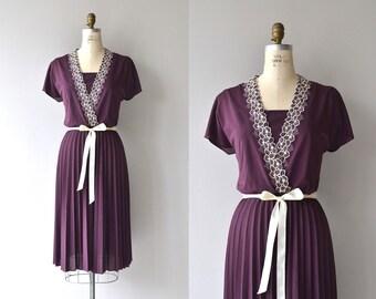 Plum Picking dress | vintage 1970s dress | wrap bodice 70s dress