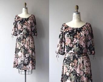 Baroque Rose dress | vintage 1970s dress | black floral print 70s dress