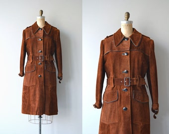 Anouk suede trenchcoat | vintage 1960s suede coat | mod 60s suede trench coat