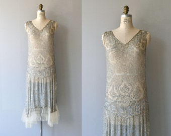Conte Merveilleux dress | vintage 1920s beaded dress | silver silk 20s dress